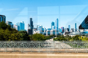 Picture of the Chicago skyline taken from a walkway between buildings at Mccormick Place during IMTS 2012